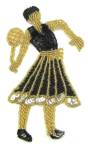 "Lady Playing Tennis with Black and Gold Sequins and Beads 6"" x 3'"