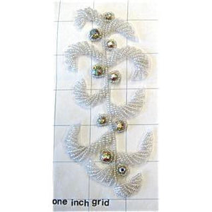 "Designer Motif  with White Beads with 2 Sizes Silver Rhinestones 5.5"" x 2.5"""