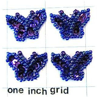 Butterfly set of  Dark Blue Sequins and Beads. Set of 4.  1""