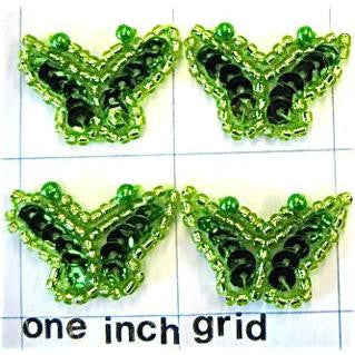 "Butterfly Set of 4 Lime Green Sequins and Beads 1"" x 1"""