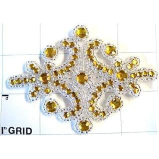"Designer Motif with Gold Rhinestones and Silver Beads 4"" x 3"""