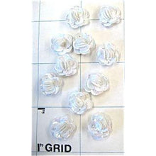 Load image into Gallery viewer, Set of 10 Flowers, White Sequins