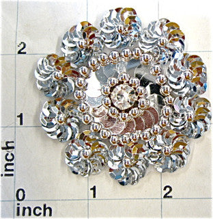 SILVER SEQUIN FLOWER WITH BEADS  2.5""