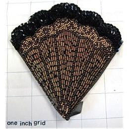 "Fan Exotic Black and Bronze Beads and Sequins 5"" x 5"""