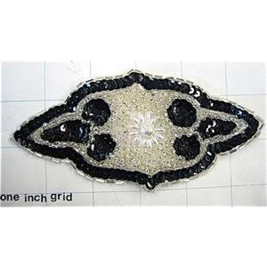 Motif Black and White Beaded 6""