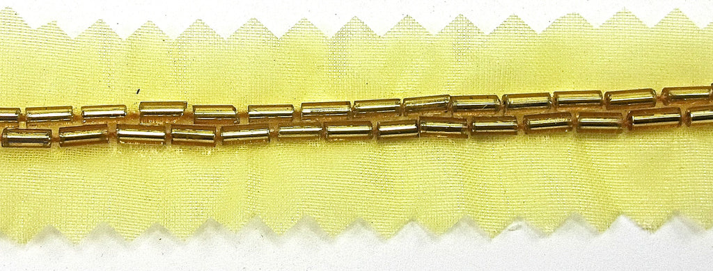 "Trim with Two Rows of Gold Bugle Beads with netting for Sewing 1/8"" Wide"