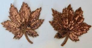 "Leaf Pair with Bronze Sequins and Beads 5"" x 5.5"""