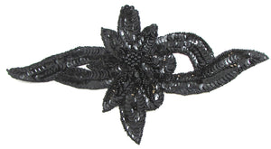 "Flower wtih Black Sequins and Beads 9"" x 6"""