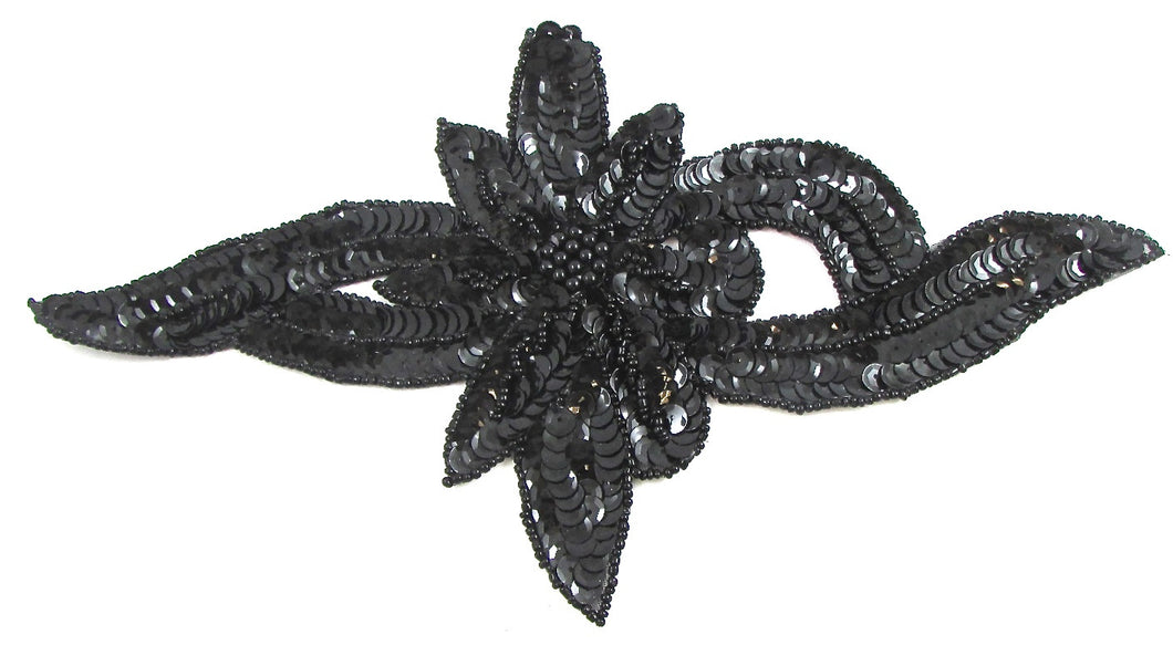 Flower wtih Black Sequins and Beads 9