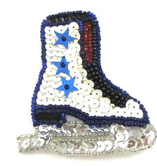 "Ice Skates with MultiColored Sequins and Beads 3"" x 2.5"""