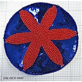 Starfish 6 point with Red and Blue Sequins and Beads 4.5""