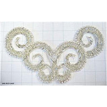 "Load image into Gallery viewer, Silver beaded pearl designer applique  5.25"" x 10"""