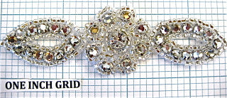 "Designer Motif Rhinestone with Silver Beads  4"" x 2""."