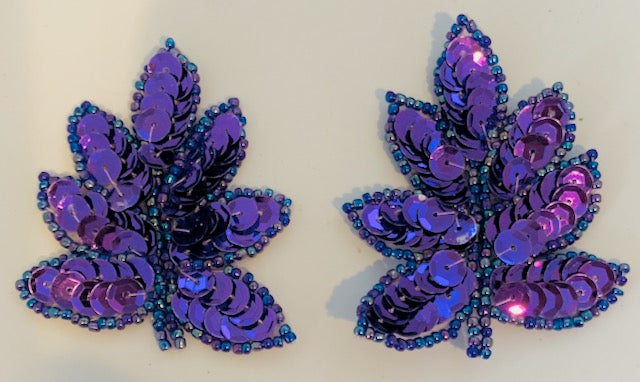 "Leaf with Purple Sequins and Beads 2"" x 1"""