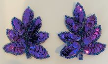 "Load image into Gallery viewer, Leaf with Purple Sequins and Beads 2"" x 1"""