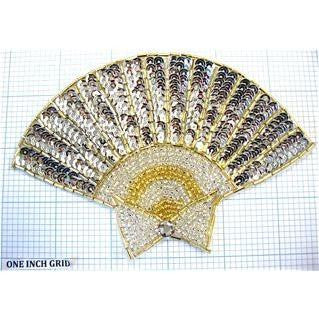 "Fan Silver and Gold Sequins and Beads and Rhinestone 5.5"" x 4"""