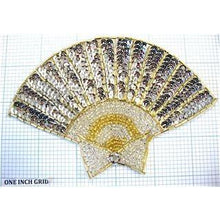 "Load image into Gallery viewer, Fan Silver and Gold Sequins and Beads and Rhinestone 5.5"" x 4"""