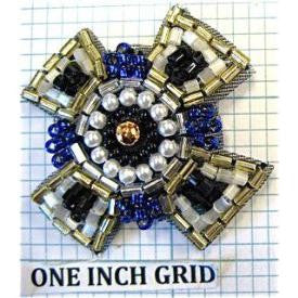 Designer Motif with Royal Blue Gold White Beads 1.5""