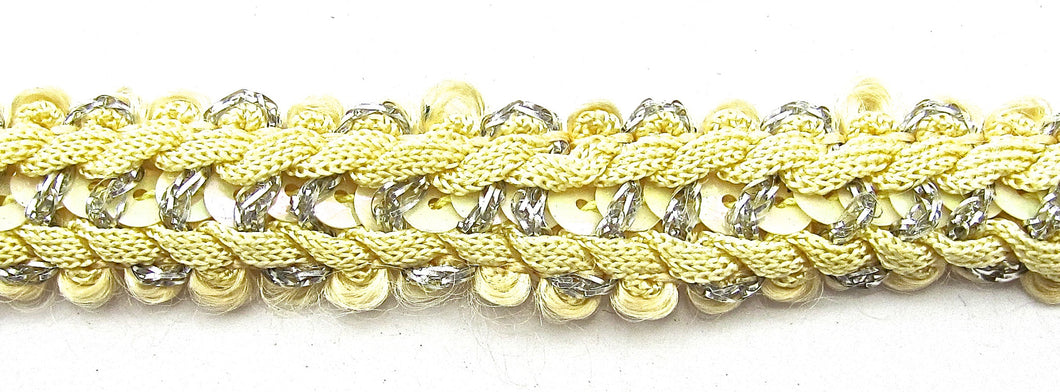 Trim Yellow Braided with Silver 1/2