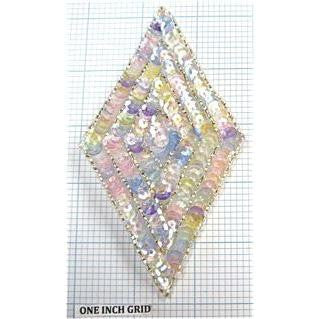 Designer Motif Triangle with Multi-Colored Sequins and Silver Beads  5""