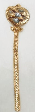 "Scepter for Mardi Gras Gold and Silver Sequins and Beads 9.5"" x 2.25"""
