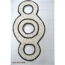 "Load image into Gallery viewer, Designer Motif Triple Circle with Iridescent and Black Beads 6"" x 3"""