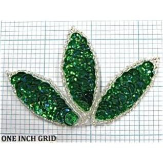"Leaf with Green Sequins Silver Beads 2"" x 3.5"""