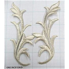 "Load image into Gallery viewer, Designer Motif Pair Leaf, Metallic Silver Embroidered Iron-on  5"" x 2"""