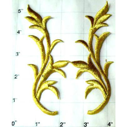 "Designer Motif Pair, leaf, metallic Gold Embroidered Iron-On  5"" x 2"""