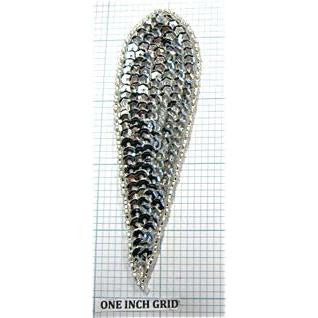 "Designer Motif Teardrop Silver Sequins and Beads 4.5"" x 1.25"""