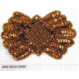 "Designer Motif With Bronze Sequins and Beads  2.5"" x 3.75"""