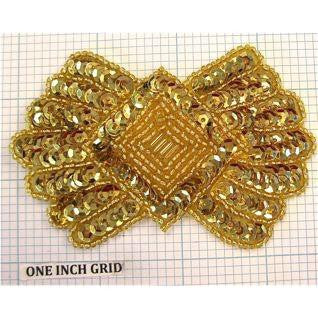"Designer Motif Bow with Gold Sequins and Beads 3.75"" x 2.5"""