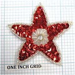 Star with Red Sequins and White Beads and Rhinestone 2""