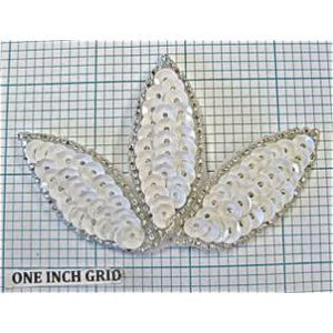 "Leaf with White Sequins and Silver Beads  2"" x 3.5"""