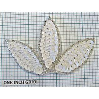Leaf with White Sequins and Silver Beads  2