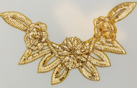 "Triple Flower Neck Line with Gold Sequins and Beads 5"" x 14"""