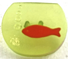 "Buttons Fish Bowl with Fish Three Different Colors 3/4"" x .5"""
