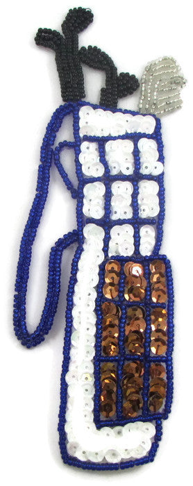 "Golf Club with White and Bronze Sequins and Beads 6.5"" x 2"""