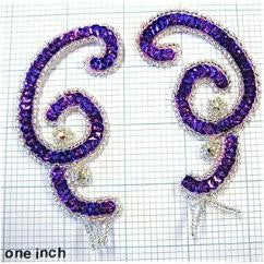 "Swirl Pair with Purple Sequins and Silver Beads  4"" X 2"""
