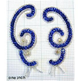 "Designer Motif Pair with Royal Blue Lazer Sequins and Rhinestones 4"" x 2"""