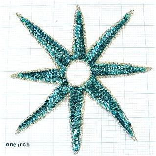 Motif Star Turquoise 6 sequin beaded star