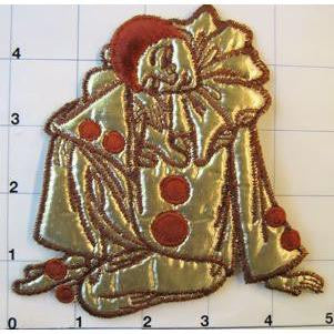 "Clown with Gold Cloth Suit, Embroidered 5"" x 5"""