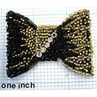 Bow Black and Gold and Rhinestones 3""