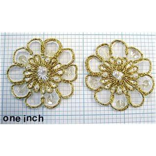 Flower Pair, Embroideredwith Pearls 1.75""