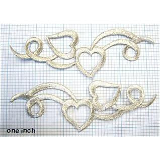 "Designer Motif Heart Pair, Metallic Silver Embroidered Iron-on  5.25"" x 1.5"" (sized each)"