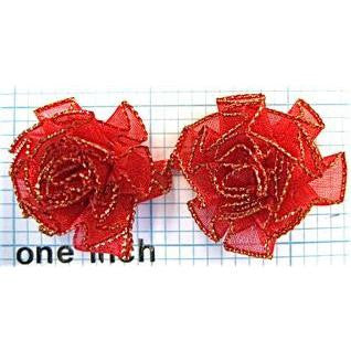 Flower Pair Cabbage Rose with Red Organza 1""