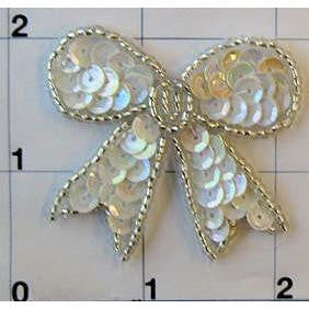 "Bow with White Sequins and Silver Beads 1.5"" x 1.5"""