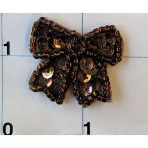 "Bow with Bronze Sequins and Beads  1"" x 1"""