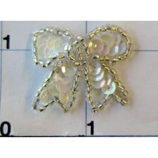 "Bow with Iridescent Sequins and Silver Beads 1"" x 1"""