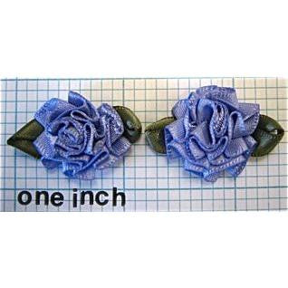 Flower Pair Dark Lavender Satin Rose  1.25""